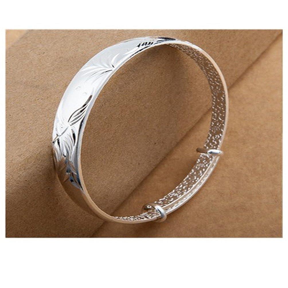 HMILYDYK Fashion Bracelet 925 Sterling Silver Plated Classic Cuff Open Bangle Bracelet for Women Men GSNHK-46