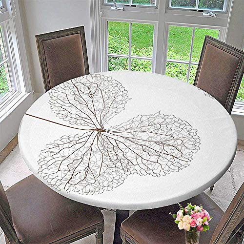 Mikihome Circular Table Cover Abstract Cotton Floral Design with Veins Natural Botanic Plants Image Art White and for Wedding/Banquet 40