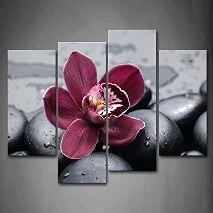 Dark red orchid on cobblestones wall art painting pictures print on canvas flower the picture for