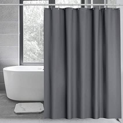 Hotel Collection Heavy Duty 8G Waterproof Shower Curtain Liners for Bathroom- Gray Plastic Shower Liner for Shower Stall Bathtubs 12 Hooks 72 x 72 WELTRXE PEVA Shower Curtain Liner with Magnets