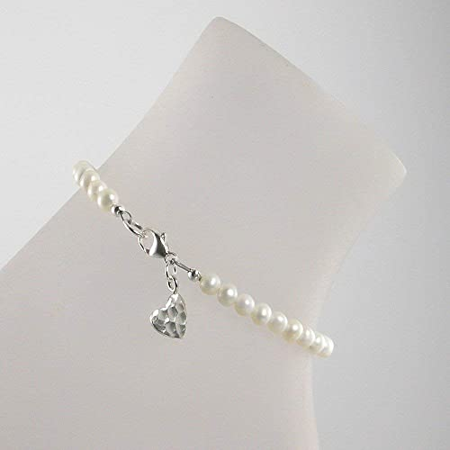 Fashion Jewelry Sterling Silver Ankle Bracelet With Freshwater Pearls