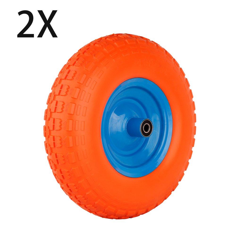 Forever Speed Lot de roues pneumatiques 4.00-6, pour sac de brouette Pneumatiques en Caoutchouc pour Brouette Diable Chariot, 340 X 95 mm,Max.200kg, Orange (1 PCS)