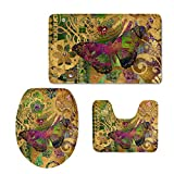 Instantarts Vintage Brown Bathroom Set Butterfly Decorative Bath Rug Contour Mat Toilet Lip Cover