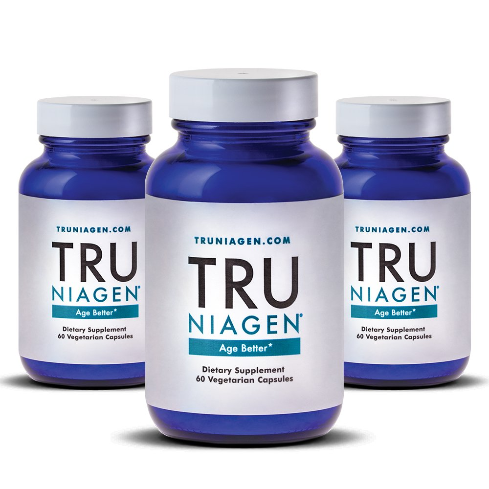 TRU NIAGEN Nicotinamide Riboside - Patented NAD Booster for Cellular Repair & Energy, 150mg Vegetarian Capsules, 300mg Per Serving, 30 Day Bottle (Pack of 3) by TRU NIAGEN