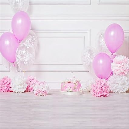 Leowefowa 6X6FT Happy Birthday Baby Cake Smash Backdrop Pink Balloons Cakes Paper Flowers Interior Decoration