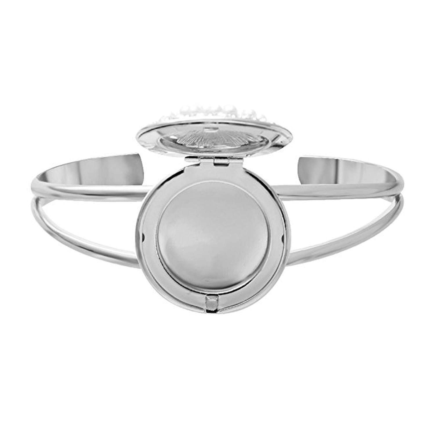 Openable White Crystal Pearl Round Box Locket Bangles Diffuser Cuff Bangle Bracelet