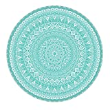 LEEVAN Modern Flannel Microfiber Non-Slip Machine Washable Round Area Rug Living Room Bedroom Study Soft Carpet Floor Mat Home Decor 3-Feet Diameter - Teal Mandala