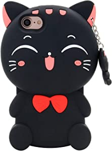 for iPhone SE 2020 Case iPhone 8 Case iPhone 7 Case iPhone 6S Case iPhone 6 Case 3D Cute Cartoon Lucky Fortune Cat Kitty Shaped Soft Silicone Case Cover for iPhone SE 2020-4.7