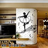 Jedfild Dance music simple quartz wall clock modern watch fashion mute European style living room clocks personalized bedroom clock, 24 inches, black ballet send ''sound spectrum'' wall stickers