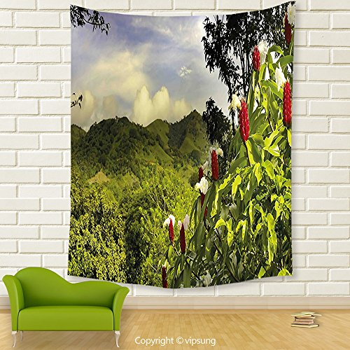 Price comparison product image Vipsung House Decor Tapestry_Forest Rural Scenery Costa Rica Countryside Greenery Tropic Accents Botanical Green Red Violet Blue_Wall Hanging For Bedroom Living Room Dorm