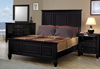 40ded02da564 Image Unavailable. Image not available for. Color  4pc California King Size  Bedroom Set Cape Cod Style in Black Finish