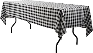 E-TEX Rectangle Tablecloth - 60 x 126 Inch - Black & White Checked Rectangular Table Cloth for 8 Foot Table in Washable Polyester
