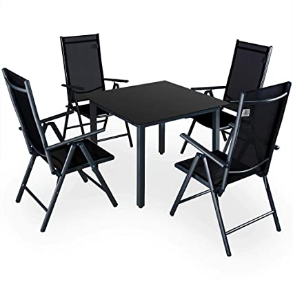 20972ec98cfc Deuba Garden Dining Furniture 4 Seater Bern Table and Chairs Set Aluminum  Glass 4 Seater Recliner Outdoor Patio Silver Anthracite: Amazon.co.uk:  Kitchen & ...