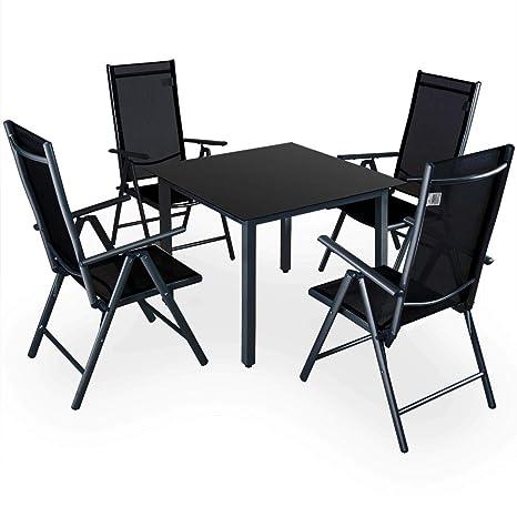 Deuba | Salon de Jardin 4+1 Bern • 1 Table, 4 chaises • Noir - Aluminium  avec Table en Verre • dossiers Hauts inclinables | Ensemble de Jardin