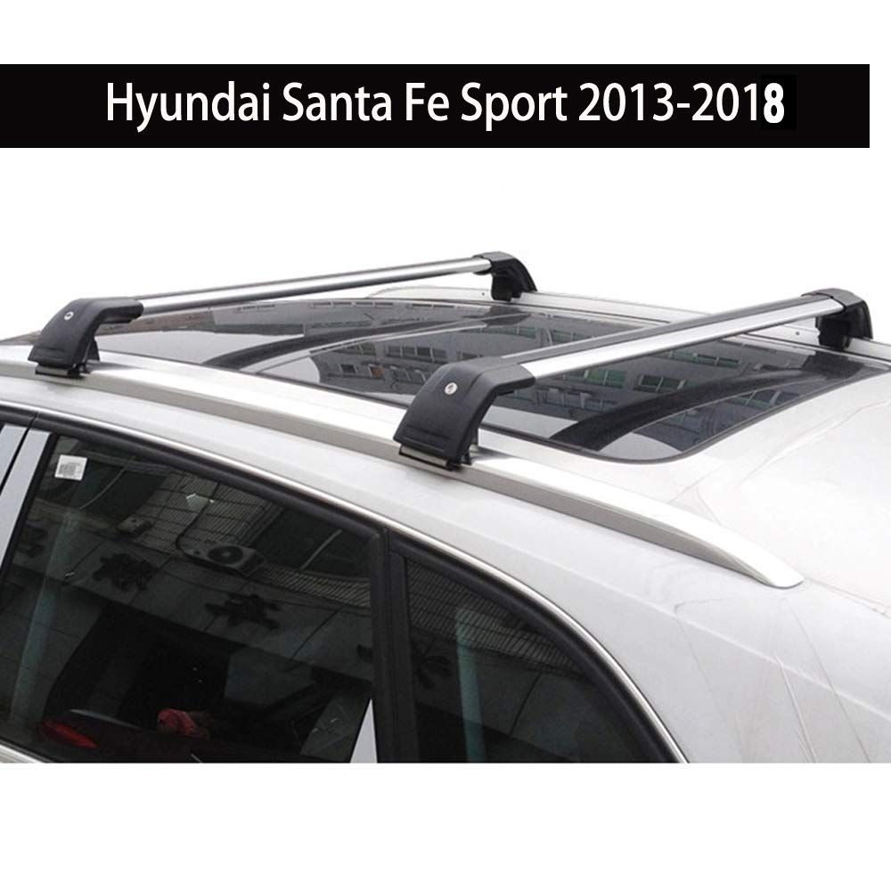 Fit for Hyundai Santa Fe Sport 2013-2018 Lockable Baggage Luggage Racks Roof Racks Rail Cross Bar Crossbar - Silver KPGDG