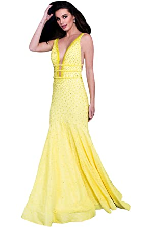 78d1768186 Jovani Prom 2018 Dress Evening Gown Authentic 60191 Long Yellow at Amazon  Women s Clothing store