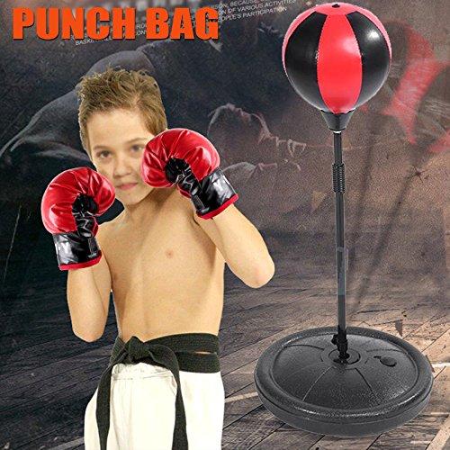 Pera de Velocidad para Niños Juego de boxeo con Guantes y Soporte Ajustable Altura 70 - 105 cm Negro y Rojo Cusco