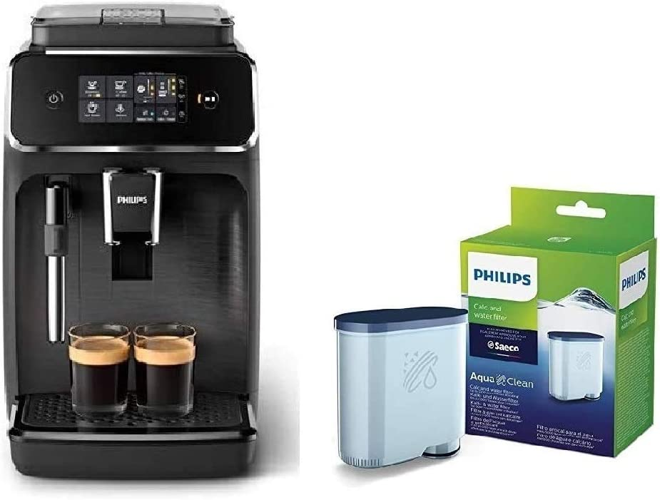 Philips EP2220/10 Cafetera superautomática, Acero Inoxidable, Negro Mate + CA6903/10 Filtro de Agua Aquaclean para Máquinas de Café Espresso Automáticas, Verde, 6x9.5x14.5 cm: Amazon.es: Hogar
