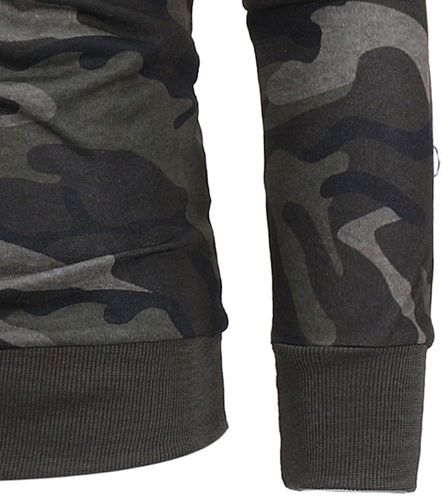 Himtak Mens Long Sleeve Camouflage Hoodie Hooded Sweatshirt Tops Jacket Coat Outwear