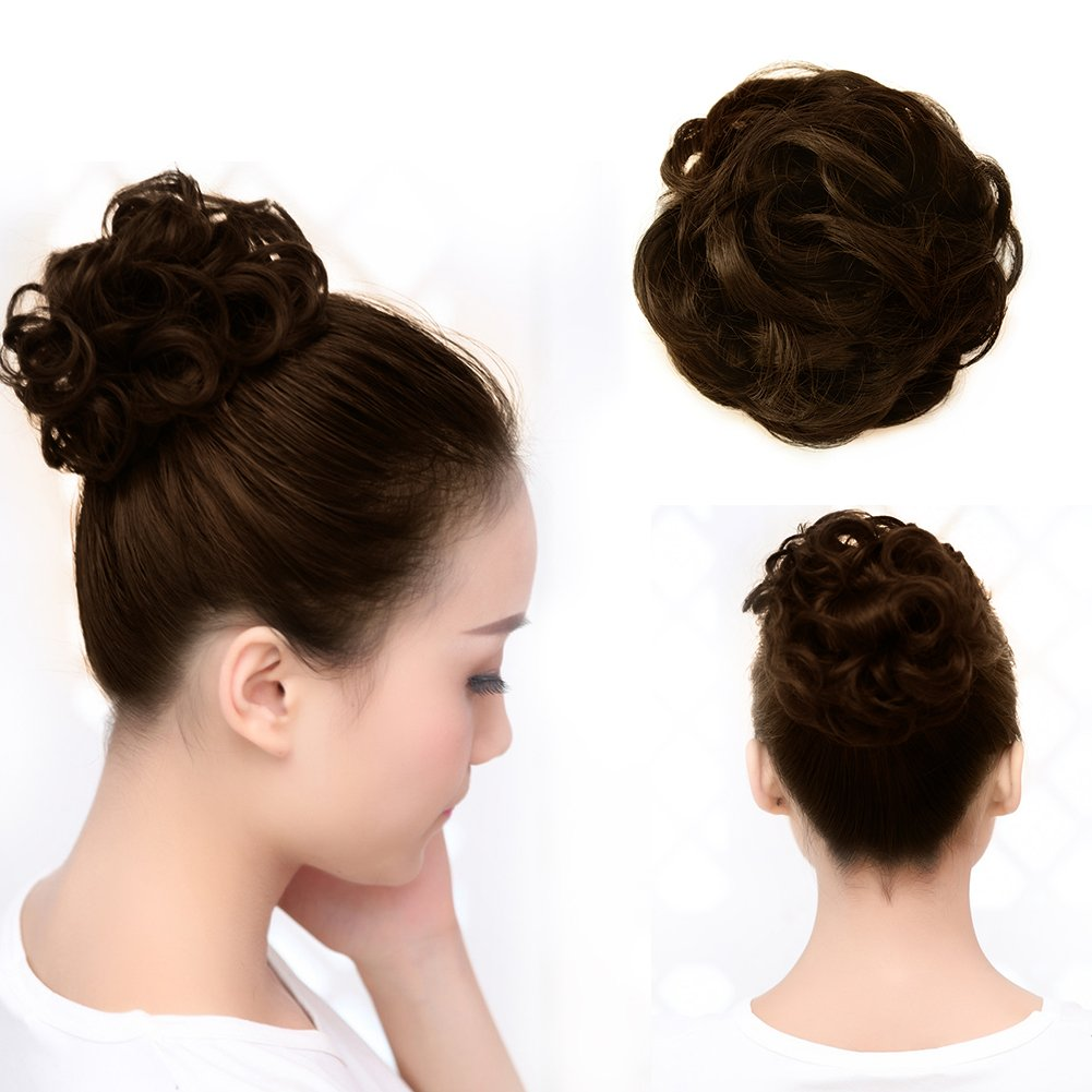 Beauty Angelbella Curly Scrunchies Hairpiece Messy Bun Hair Pieces Updo Chignon Wig Short Synthetic Ponytail Extension for Women with Elastic Drawstring,Fake Wavy Donut Clip in Hair Accessories(Brown)