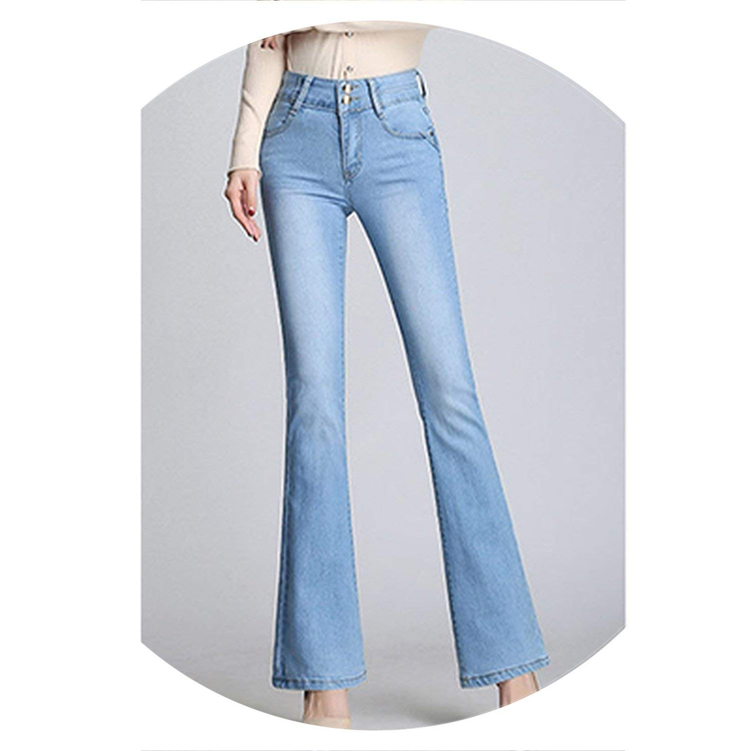Light bluee colorfulspace Classic with High Waist Denim Jeans for Women Vintage Slim Mom Style Jeans Woman Denim Pants