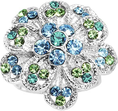 Blue Green Passionate Petals Flower Adjustable Ring