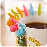 Porte-sachets de thé escargot, mignon coloré en forme d'escargot en silicone de bonbons couleurs,lot de 12 porte-sachets de thé