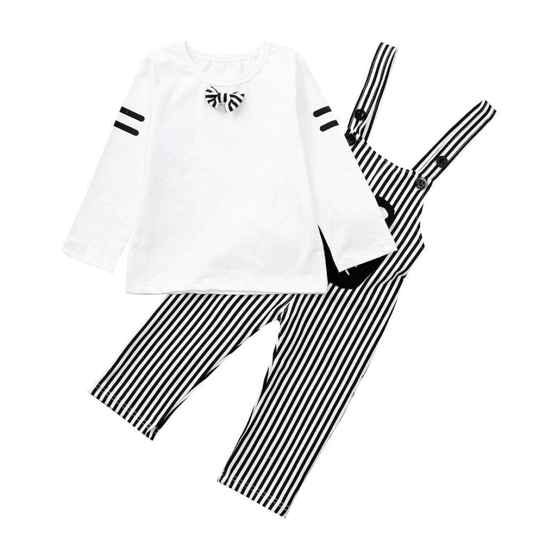 Little Kids Sport Casual Sets for 0-3 Y,Jchen(TM) Infant Baby Boy Kids Cartoon Bow Tops+Stripe Overalls Pants Clothes Sets Outfit (Age: 18-24 Months, White)