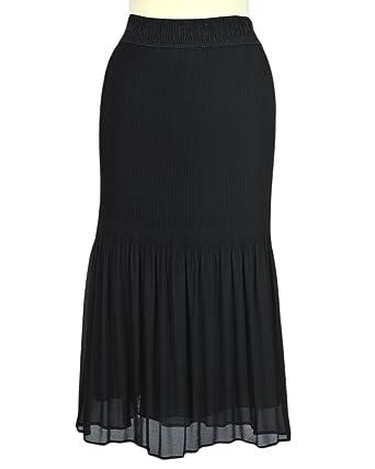 Negro falda plisada de gasa crepé: Amazon.es: Ropa y accesorios