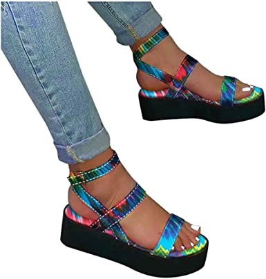 Platform Sandals for Women Rainbow Sandals Open Toe Ankle Strap Platform Flat Sandals Wedge Heel Colorblock Sandals