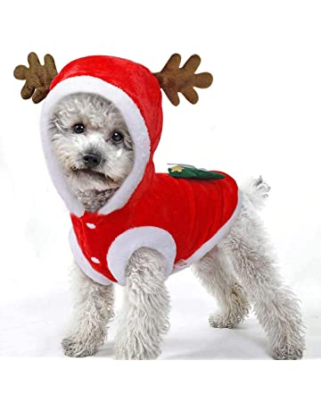 3ee474f7901e8 Dog Christmas Costume,Warm Flannel Santa Claus Pet Coat Hoodie,Dog Outfit  Clothes For