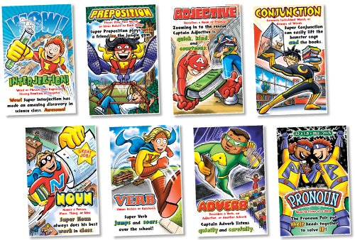 parts of speech superheroes posters