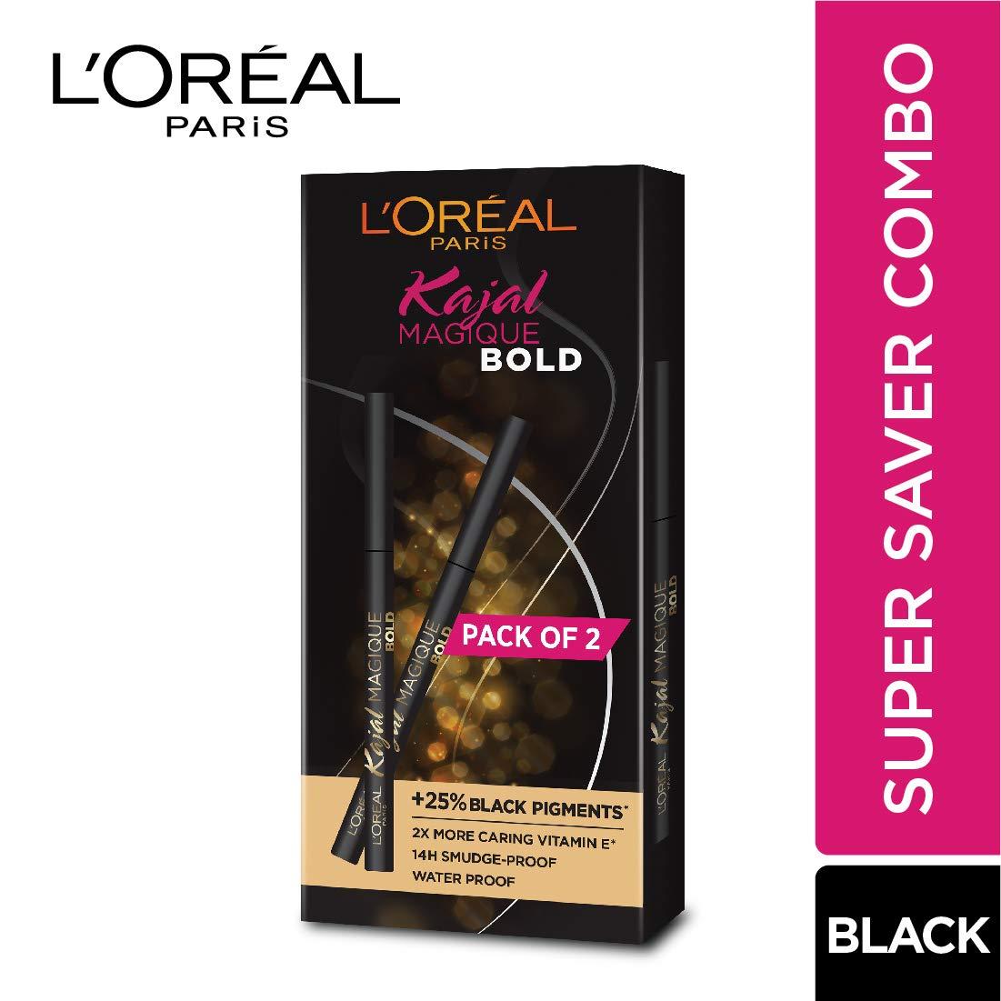 L'Oreal Paris Kajal Magique Bold, Black, 7 g (Pack of 2)
