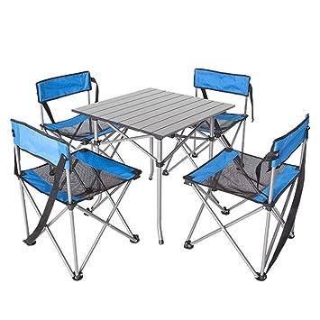 BFQY FH Mesa Y Sillas Plegables para Exteriores, para Acampar En La Playa, para