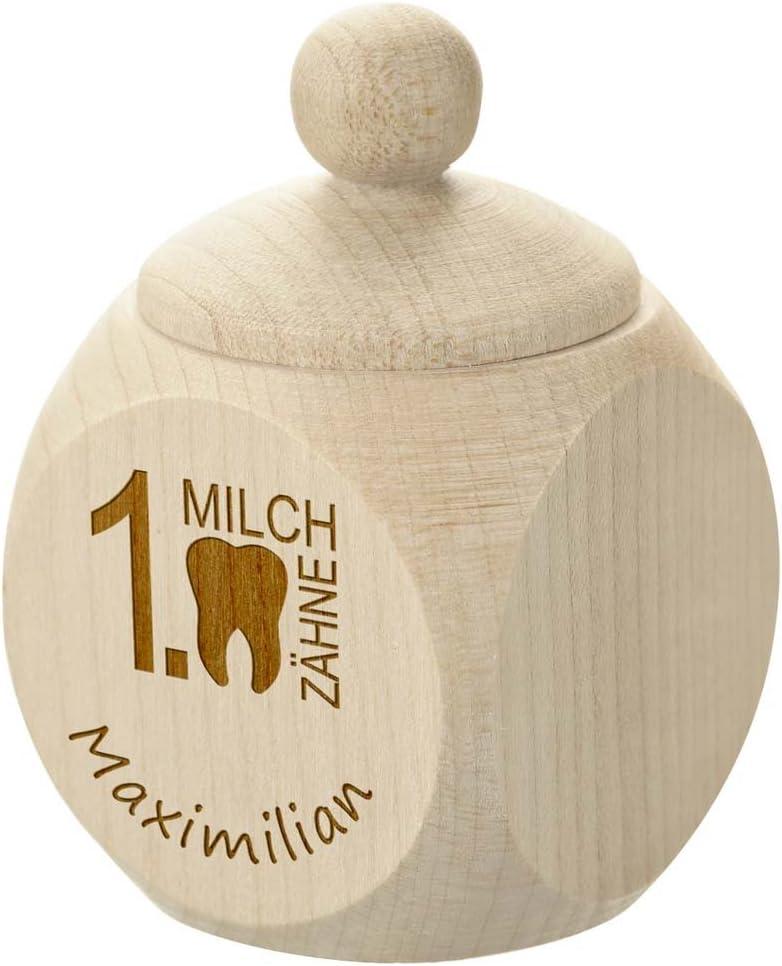 Personalisierte Baby Zahnbox f/ür Milchz/ähne als Geschenke f/ür Jungen und M/ädchen polar-effekt Milchzahndose oder Haar Dose aus Holz mit Gravur erste Locke als Erinnerung mit Wunschtext