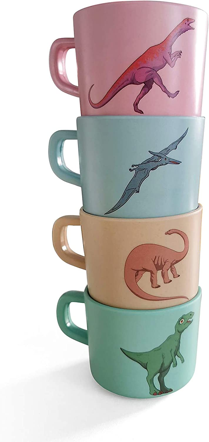 4 Piece Bamboo Dinosaur Mug Set for Tea, Coffee, Hot Chocolate, 7.4 oz (220 mL), Pink, Blue, Green, Beige, Eco-friendly, Non-toxic, Kids Drinking Cups with Handles by Tililly Concepts