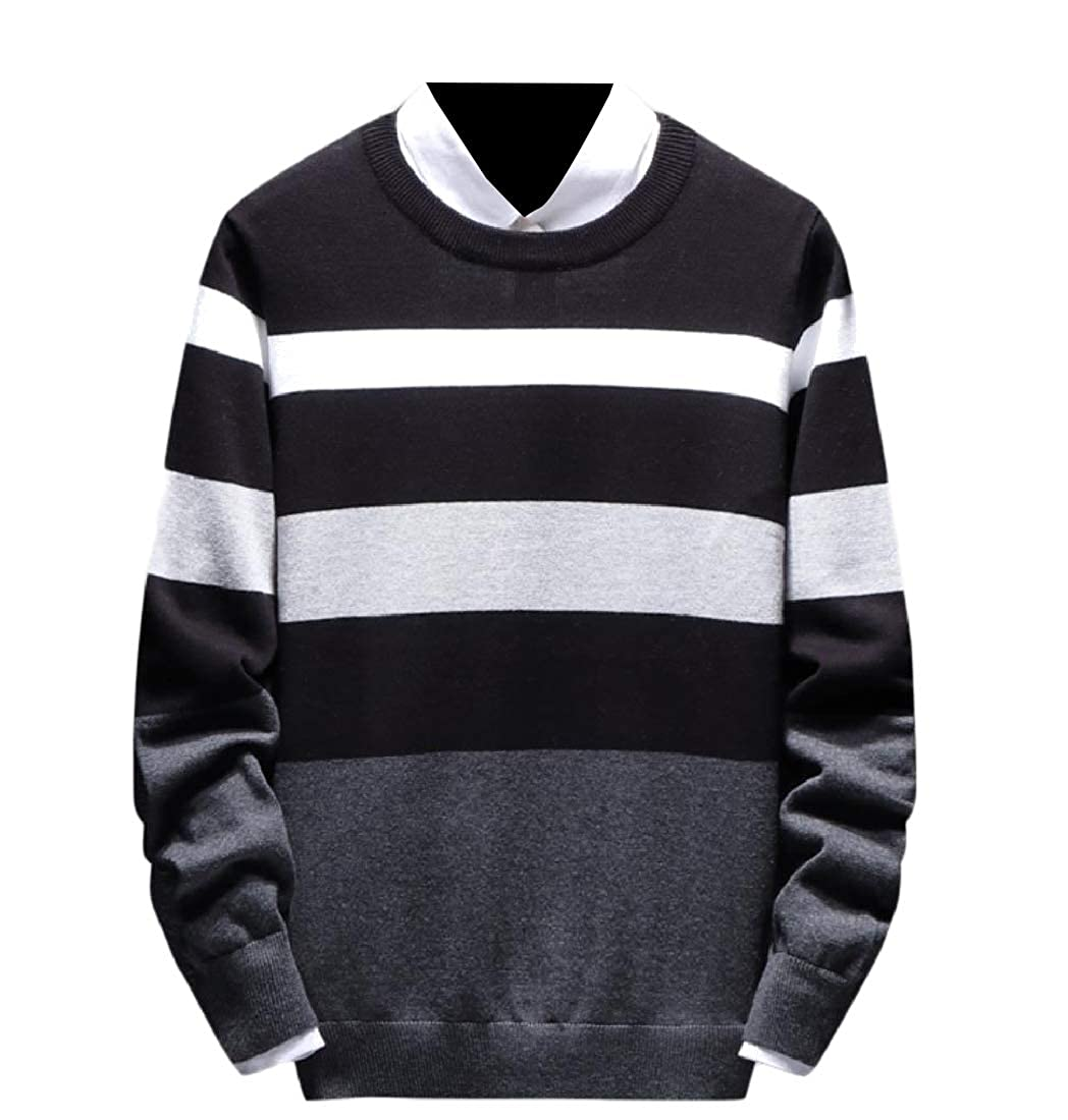 YUNY Men Assorted Colors Stripe Long-Sleeve Regular Fit Pullovers Sweater Black 4XL