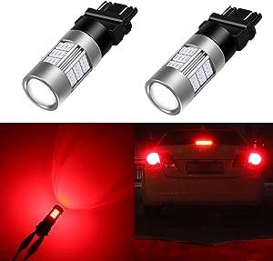 Alla Lighting T25 3156 3157 Red LED Bulbs Super Bright 4014 54-SMD 12V 3056 3047 3057 4057 Blinker Turn Signal Brake Stop Tail Lights Bulbs for Cars, Trucks, Motorcycles