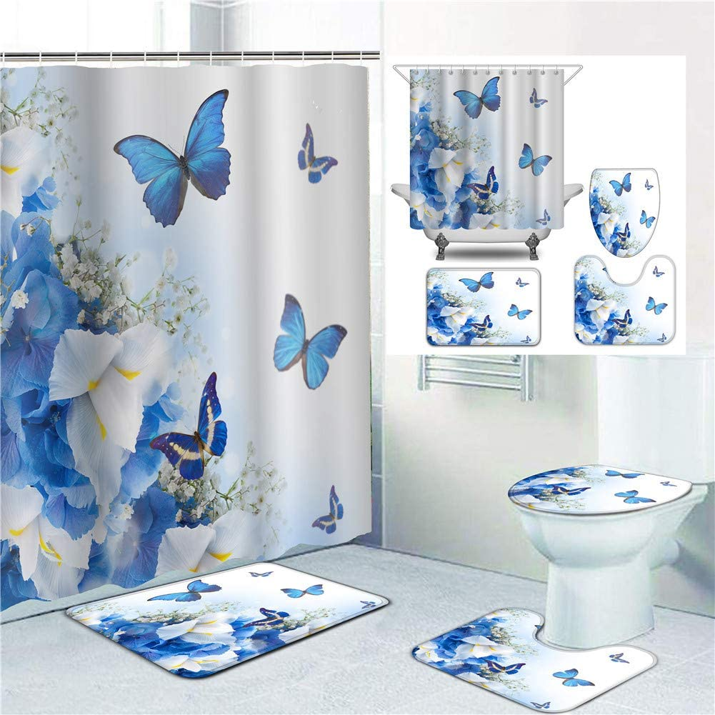4//3//1 pcs Colorful Butterfly Shower Curtain Bath Mat Toilet Lid Cover Rugs Sets