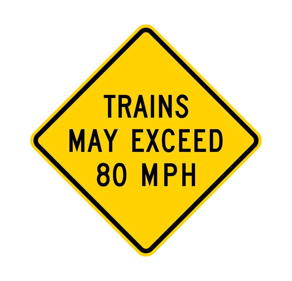 w10 – 8 Trains May Exceed 80 MPHサイン – 3 M 48 X 48 48 X 48 48 X 48 B00X3WEXLE