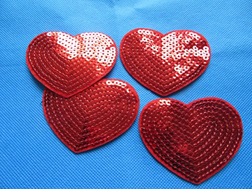 Red Sequin Heart - YYCRAFT Pack of 10 Pcs Red Shinny Sequins Heart 3