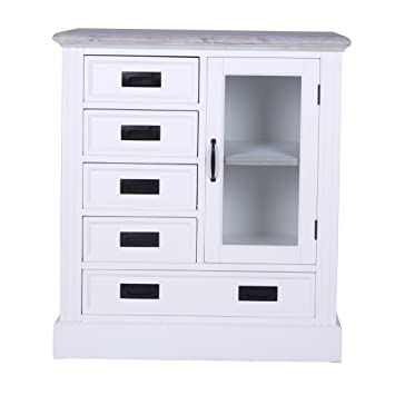 Canett Furniture Florenzio Highboard Landhaus Weiss Massiv Holz
