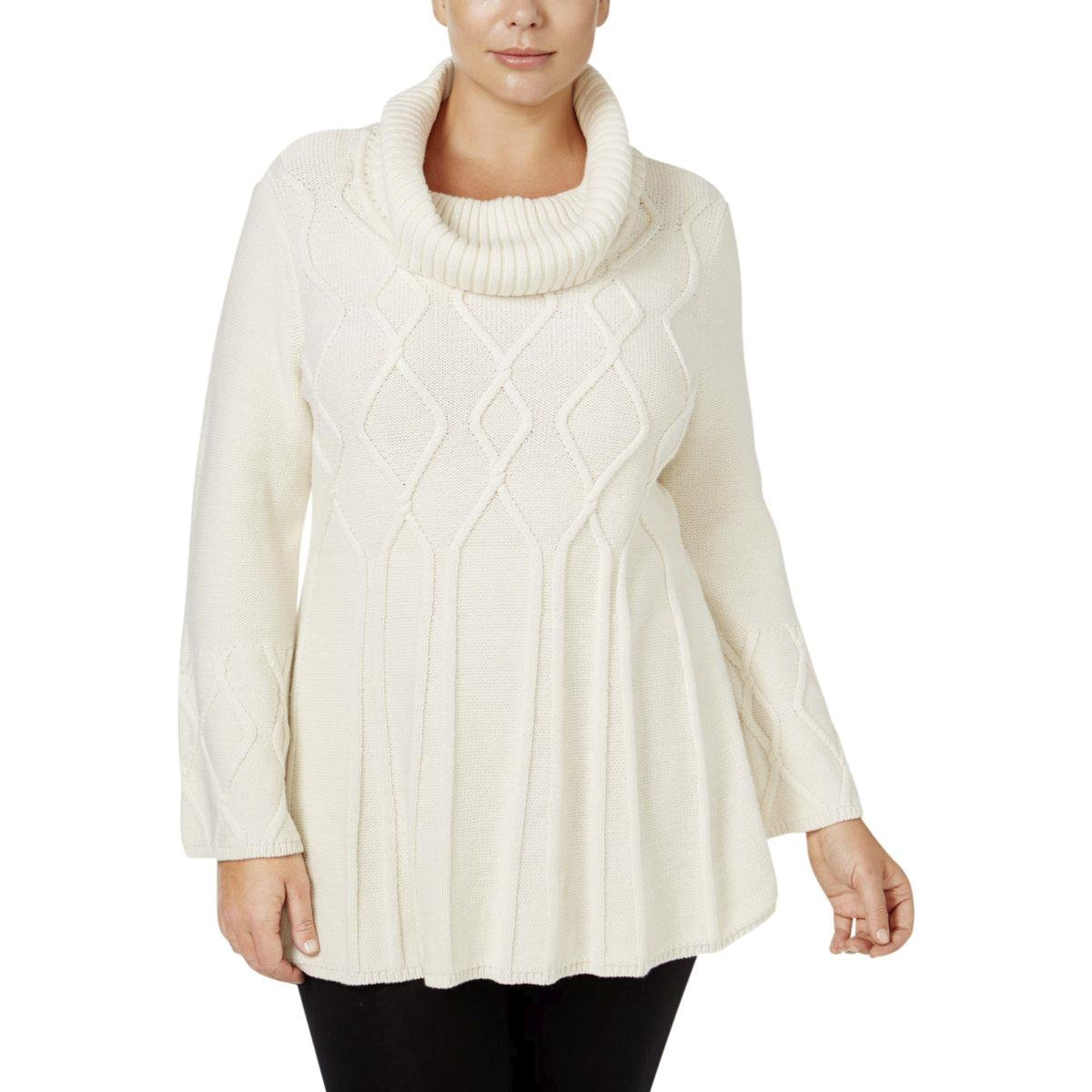 Style & Co.. Womens Plus Cable Knit Cowl Neck Pullover Sweater Ivory 3X