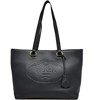 f49b6eab498a Amazon.com  Prada Womens Soft Calf Inside Tote - Black Blue Leather ...