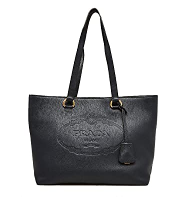 a93807d8436d Amazon.com: Prada Black Vitello Daino Calfskin Leather Shopping Tote Bag  1BG100: Shoes