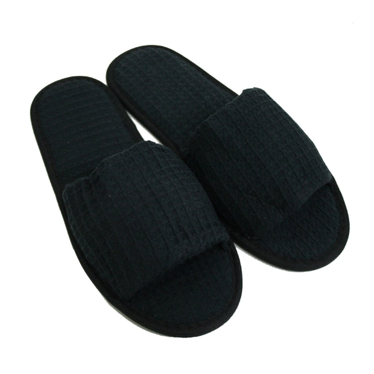 Waffle Open Toe Adult Slippers Cloth Spa Hotel Unisex Slippers for Women and Men Black