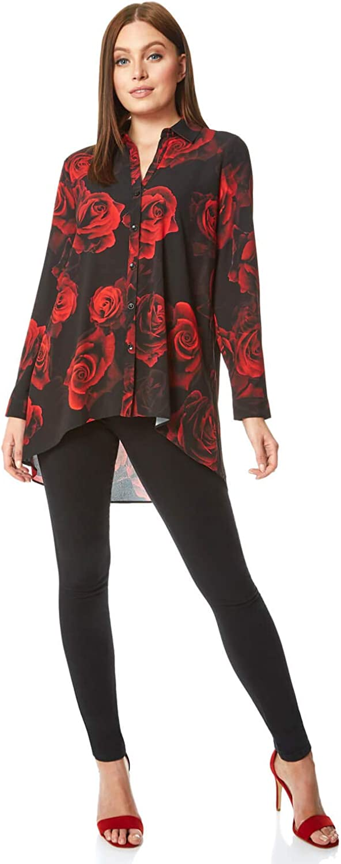 Roman Originals Blusa con botón de impresión Rosa para Mujer, Elegante, Casual, Fiesta de Noche, ocasión Especial, Estampado Floral, Cuello Camisero de Gasa Ligero