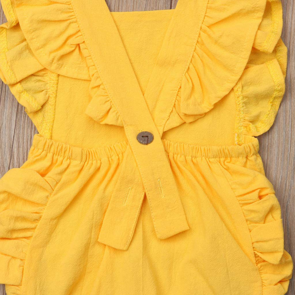 NUWFOR Summer Newborn Baby Boys Girls Ruffle Solid Romper Bodysuit Jumpsuit Clothes(Yellow,12-18Months) by NUWFOR (Image #5)