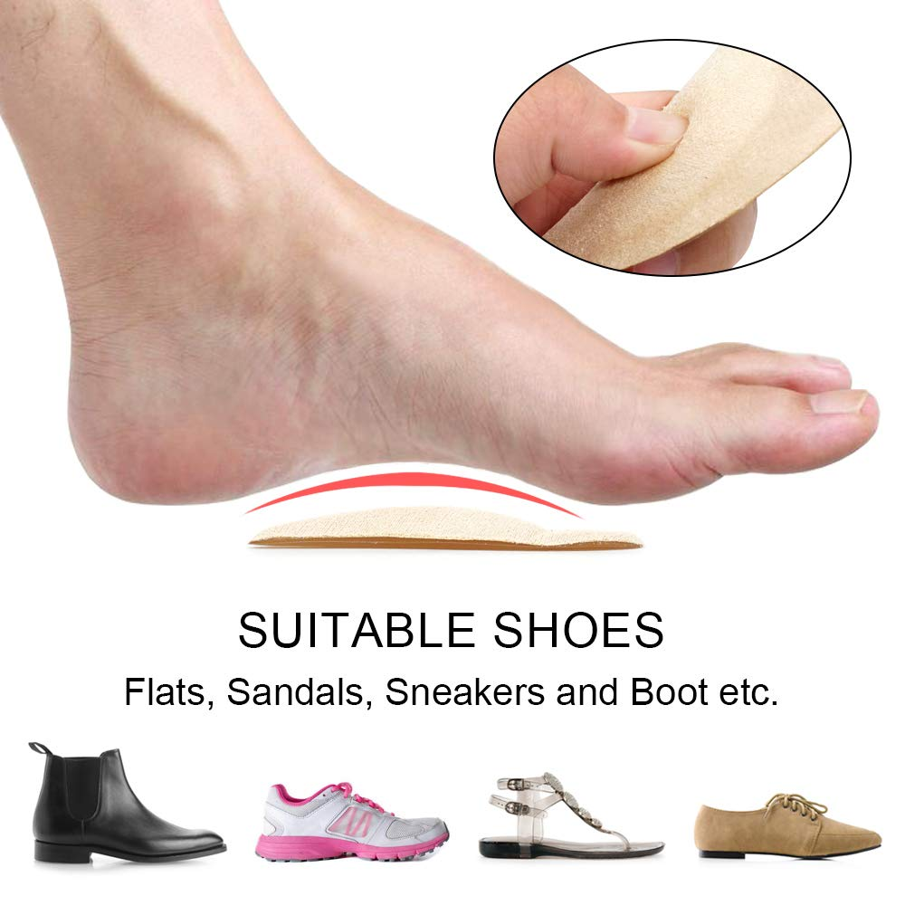 Skyfoot\'s Arch Support Shoe Inserts Plantar Fasciitis, Soft Gel Insoles for Flat Feet, Relieve Pressure from Pain for Men and Women 2 Pairs (Beige)