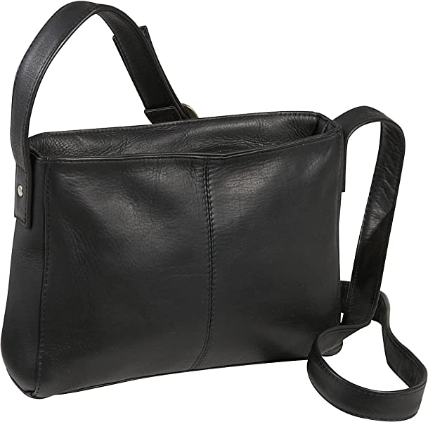 Le Donne Leather Top Zip Crossbody Bag (Black)  Handbags  Amazon.com b5d49a1631734